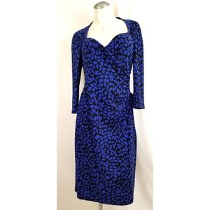Evan Picone Size 12 Black Blue Midi Dress